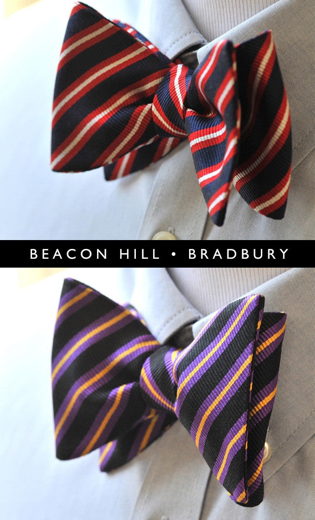 Navy Red White/Purple Black Yellow Silk Stripes Bow Ties
