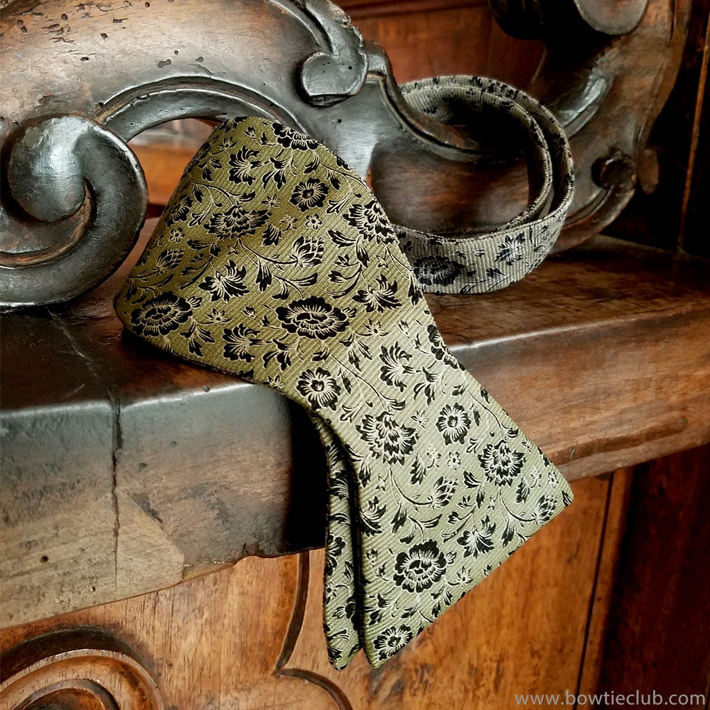 Damask floral sage grey silk bow tie