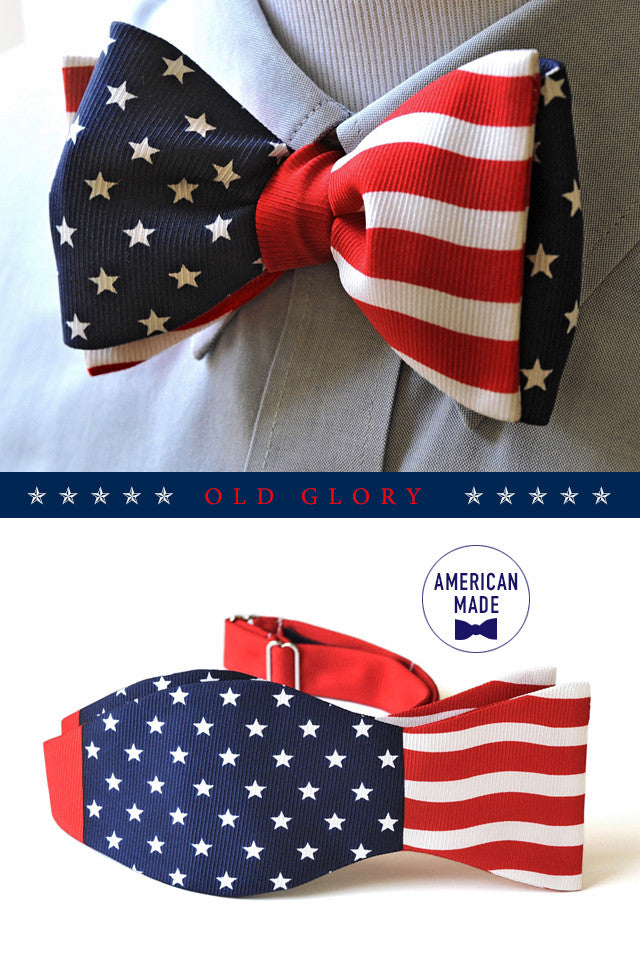 Old Glory American Flag Silk Bow Tie