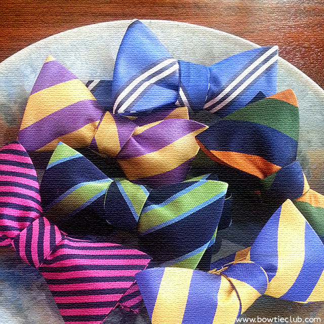 We have over 100 woven striped bow ties for your viewing and wearing pleasure! Our repp stripes are woven in England in a 300 year old mill then made by us into bow ties. There is no tougher wearing bow tie on the planet!