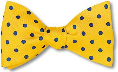 Yellow Blue Polka Dots Silk Bow Tie