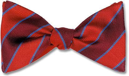 British Woven Stripes Silk Bow Tie Red Burgundy Blue