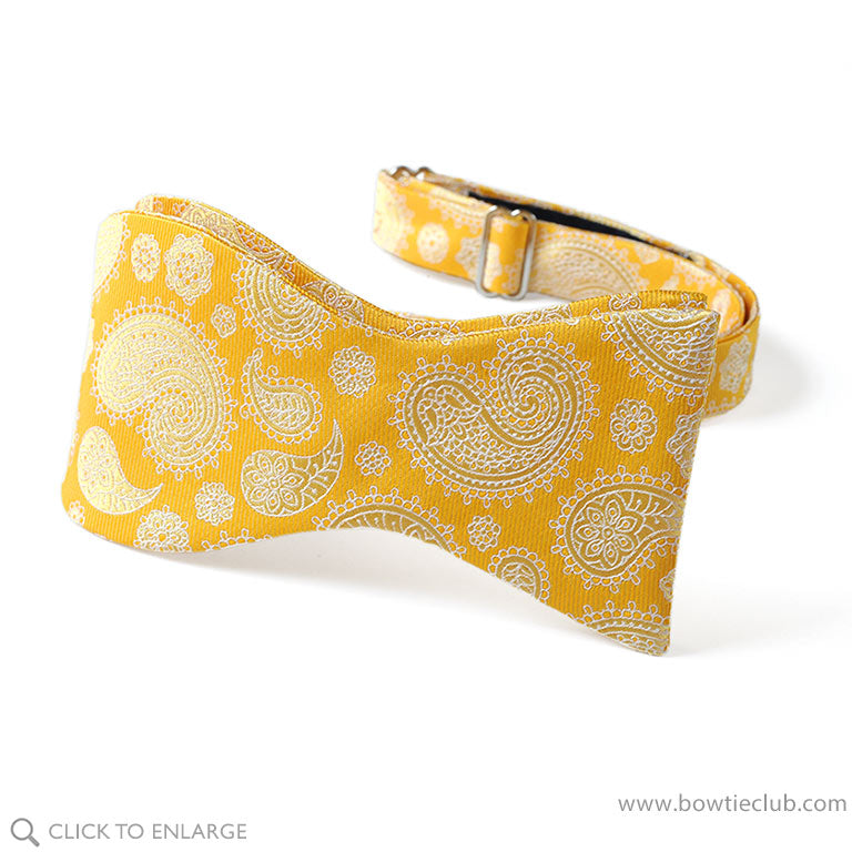 Pretied Paisley yellow silk american made bow tie