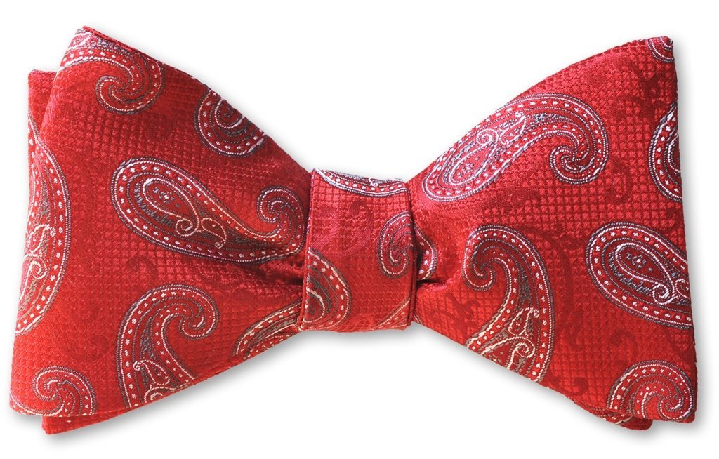pre tied red paisley bow tie