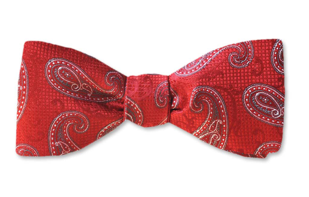 Red Paisley Straight Edge Batwing Self-tie Silk Bow Tie