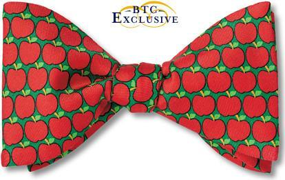 bow ties apples orchard american made red green silk