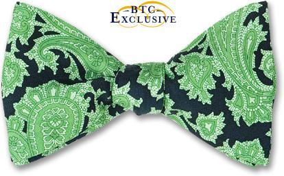 bow ties paisley floral green silk american made