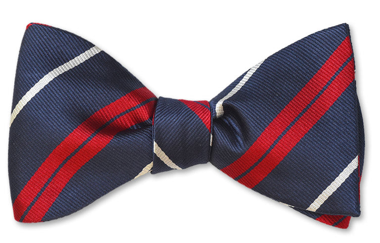 Pretied men's bow tie woven in navy, white and red stripes