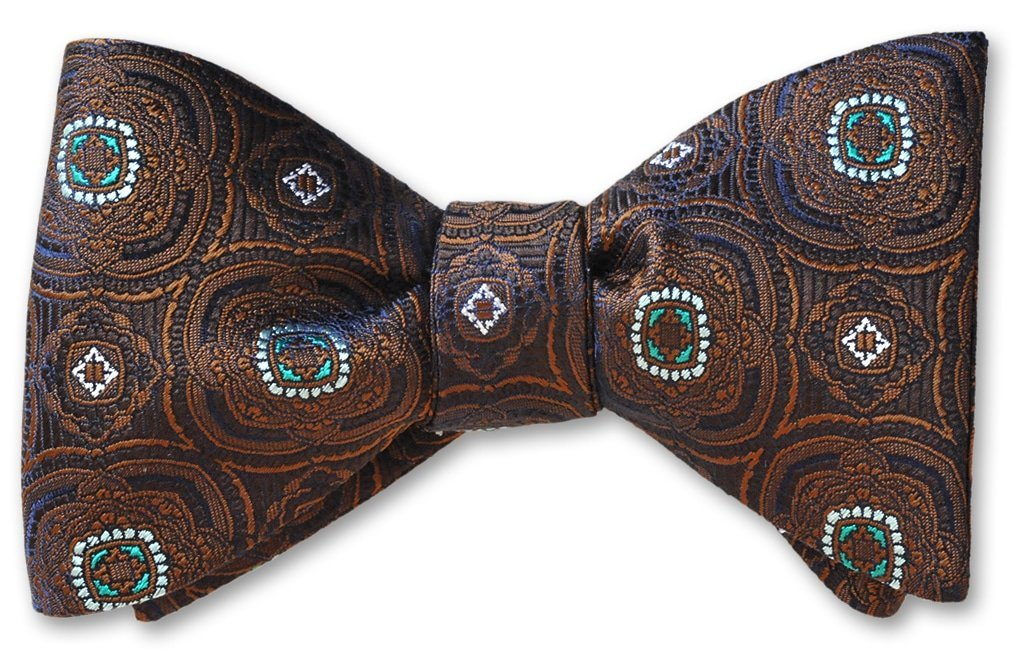 pre-tied brown medallion bow tie
