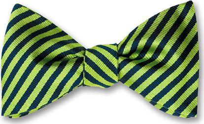 British Woven Stripes Silk Bow Tie Navy Lime Green