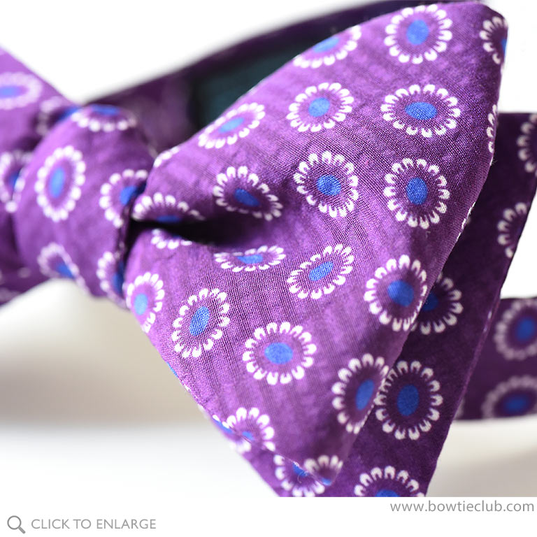 pre-tied seersucker cotton silk bow tie purple