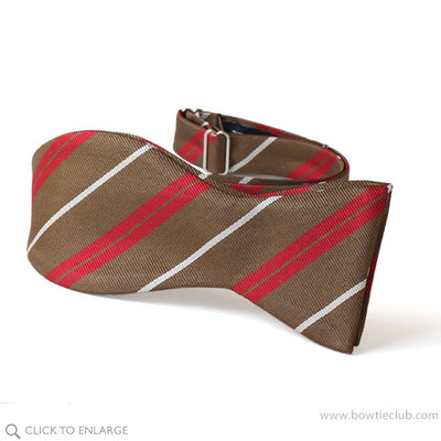 freestyle bow tie in brown, red and white woven English silk.