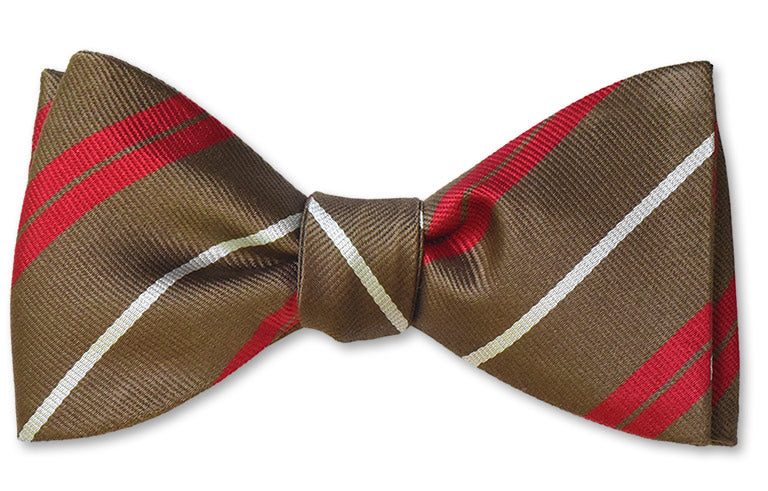 Pre-tied mens bow striped bow tie in red, white and brown