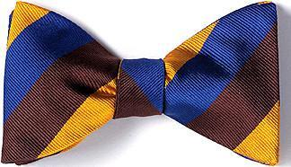 bow ties american made brown blue copper stripes