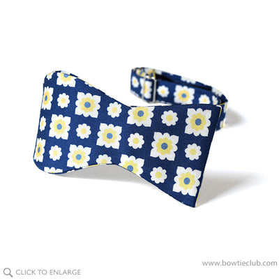 self tie oxford weave silk bow tie in deep blue and yellow