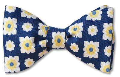 pre-tied blue and yellow oxford weave silk bow tie