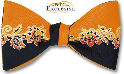 bow ties designer american made floral yellow black silk