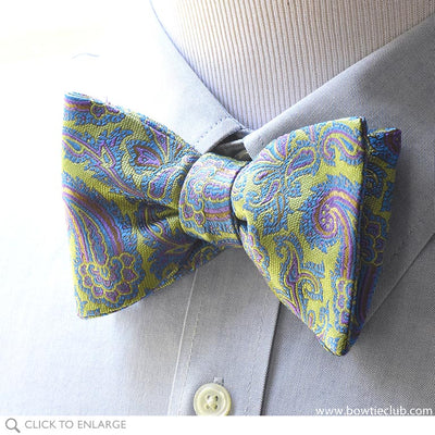 Pre-tied Lime Green Blue Paisley Woven Silk Bow Tie
