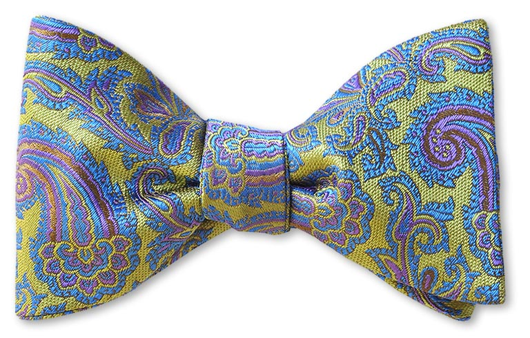 Lime Green Blue Paisley Woven Silk Bow Tie