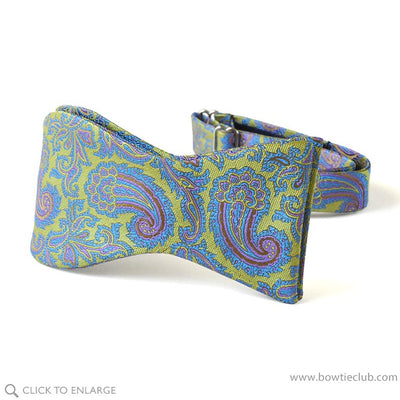 Self-tie Lime Green Blue Paisley Woven Silk Bow Tie