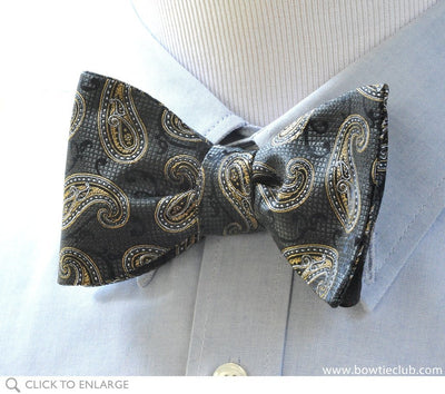 black paisley bow tie on shirt