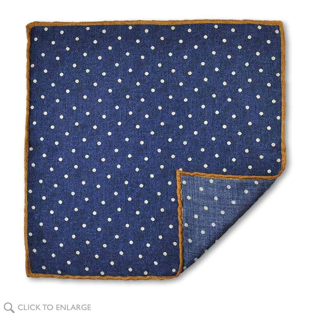 blue with white dots wool pocket square