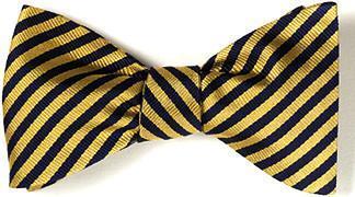 bow ties american made gold navy silk stripes