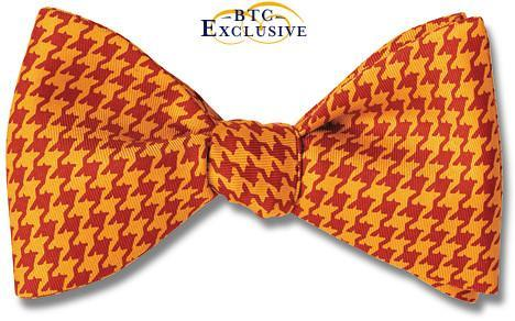 bow ties houndstooth silk american made red orange