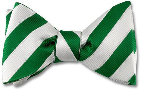 Green White stripes bow ties