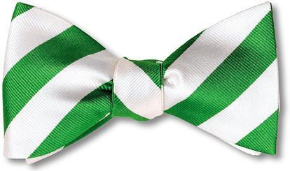 British Woven Stripes Silk Bow Tie Green White