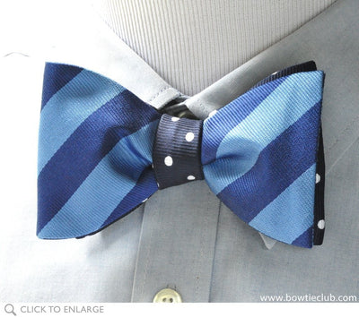 Blue on Blue Reversible bow tie