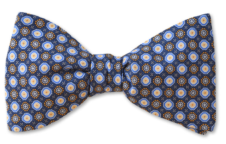 Blue Circles Cotton Bow Tie