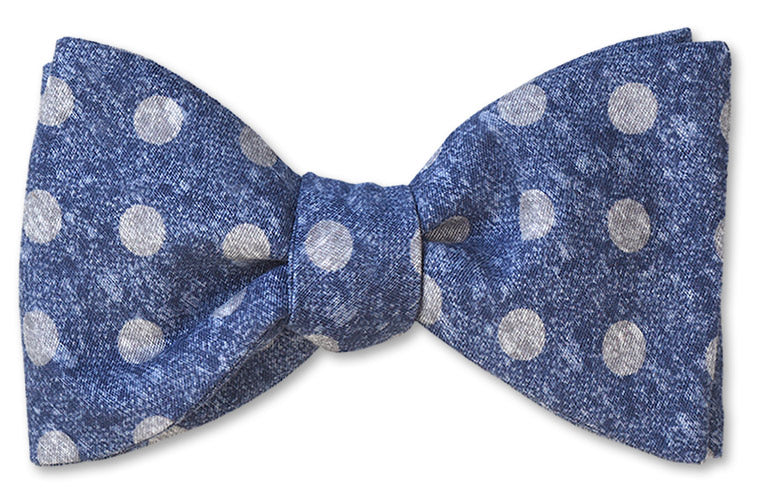 Blue Dots Stylish Cotton Bow Tie