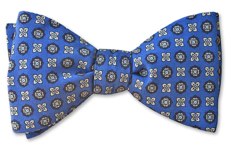 Blue Floret Cotton Bow Tie American Made