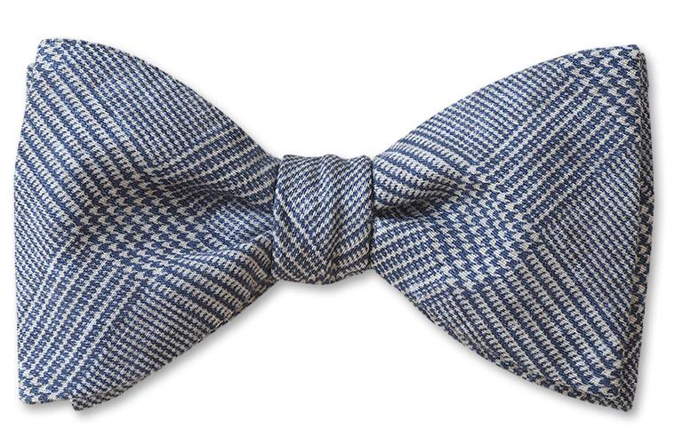 Blur Glen Plaid cotton bow tie made from high thread count washable cotton