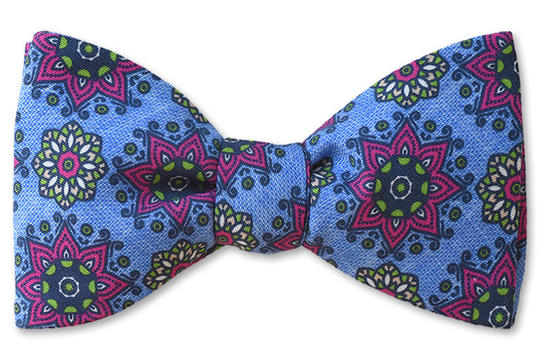 Blue Starburst Cotton Bow Tie