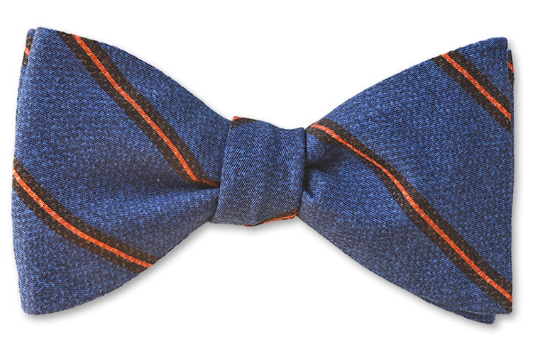 Blue Stripes Italian Cotton Bow Tie