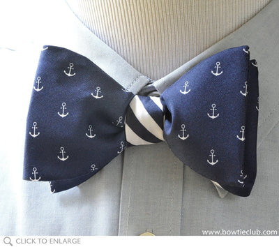nautical anchor bow tie on shirt