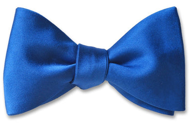 Blue Formal Wedding Solid Satin Silk Bow Tie