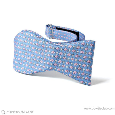 Blue Elephants Silk bow tie self-tie