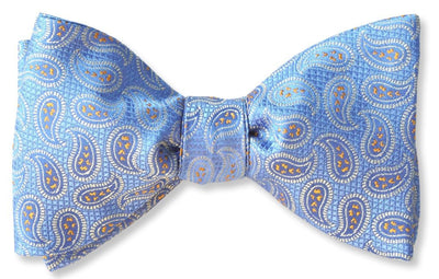 Light blue paisley silk bow tie
