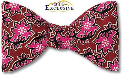 bow ties batik floral burgundy fuschia american made
