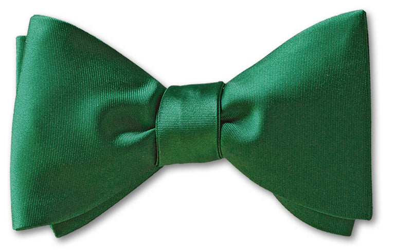Bottle Green Satin Bow Tie