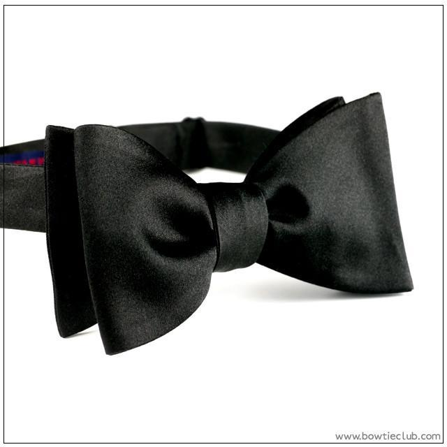 English Black Satin Bow Tie