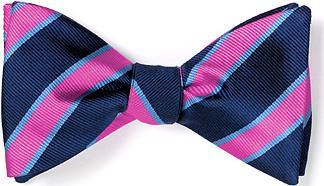 bow tie american made pink navy stripes