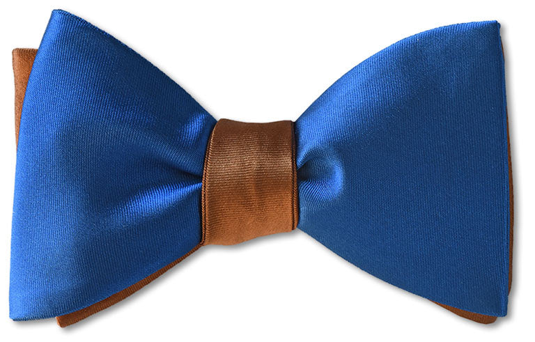 brown and blue silk satin mens bow tie