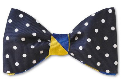 Navy and white polka dot reversible with yellow and blue striped bow tie