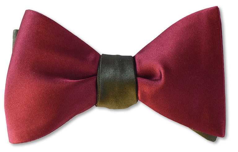 Army green and burgundy reversible silk satin mens bow ties