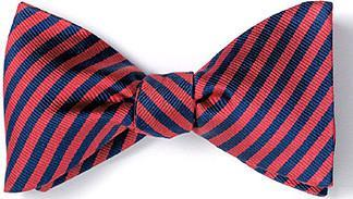 bow ties american made red navy stripes silk