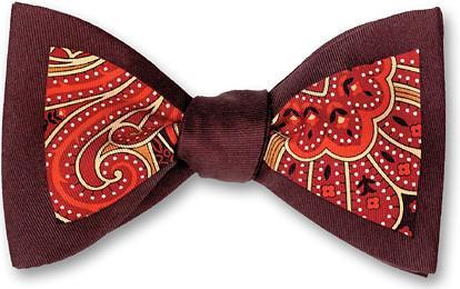 bow ties paisley red burgundy american made